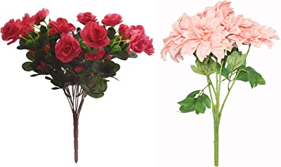 Fourwalls Artificial Synthetic Azalea Flower Bunch (11 Branches, Light Pink, 46 cm) + Decorative Artificial Dehalia Flower Bunches for Home(45 cm Tall, 5 Heads Flowers, Peach)