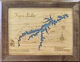 Hyco Lake, North Carolina: Framed Wood Map Wall Hanging