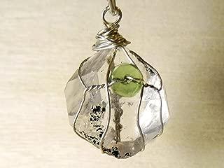 Large Genuine Herkimer Diamond Moldavite Sterling Silver Wrapped Pendant