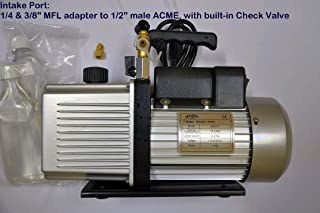 Vpd12: 2-Stage Rotary Vane High Performance Deep Vacuum Pump 12 cfm:Intake Ports:1/4+3/8 SAE MFL Check Valve 1 Hp Motor Refrigeration HVAC Evacuation