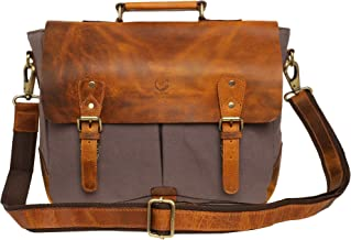 Rustic Town Leather Messenger Bag for Men Women Travel Work ~ Carry Laptop Computer Books ~ Everyday Office College School Satchel 15 inch
