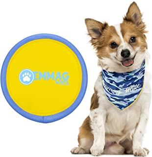 Flying Frisbee Collar Toy for Dogs - Large Tough Durable Soft Frisbee Dog Toys Color Blue And Yellow And Collar Dog Bandana Triangle Bib Washable Scarf For Small Medium Size Dogs Accessories For Dogs