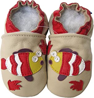 Carozoo Chaussures en cuir avec semelle souple en forme de poisson, couleur crème