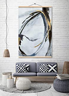 Large Abstract Canvas Prints Wall Art for Home Decoration, Black and White Modern Oil Paintings, 3D Hand Painted Pictures for Living Room Bedroom, Stretched Ready to Hang 32x48 Inch
