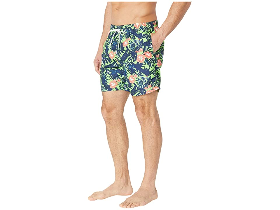 Nautica Floral Print Swim Trunk (Fresh Lime) Men's Swimwear, Green
