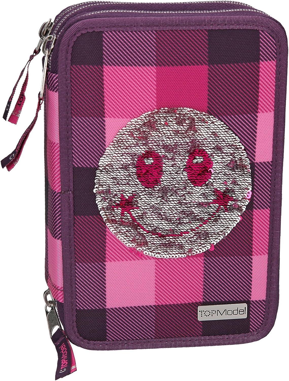 Depesche 8821 Pencil Case 3 Compartments Top Model Sequins Purple Smiley