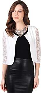 62dba6c8e6 KRISP Womens 3 4 Lace Sleeve Slim Casual Bolero Cropped Evening Shrug  Cardigan
