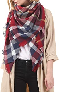 Zando Women's Scarves Fall Fashion Scarfs Soft Plaid Blanket Scarf For Women Winter Shawl Cape Scarf Wrap