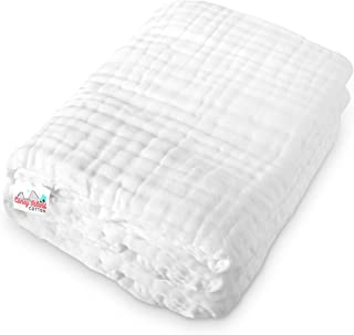 Coney Island Cotton   Warm, Soft & Fluffy Muslin 6 Layer Multi Use Baby Towel & Blanket   Super Absorbent, All-Natural Material & Antibacterial   45 x 45 Inch   Large White