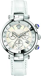 Women's 'REVE' Swiss Quartz Stainless Steel and Leather Casual Watch, Color:White (Model: VAJ020016)