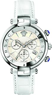 Versace Women's 'REVE' Swiss Quartz Stainless Steel and Leather Casual Watch, Color:White (Model: VAJ020016)