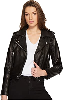 Blank NYC - Real Leather Moto Jacket in Black Smoke