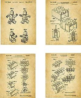 Legos Patent Wall Art Prints - set of Four (8x10) Unframed - wall art decor lego fans