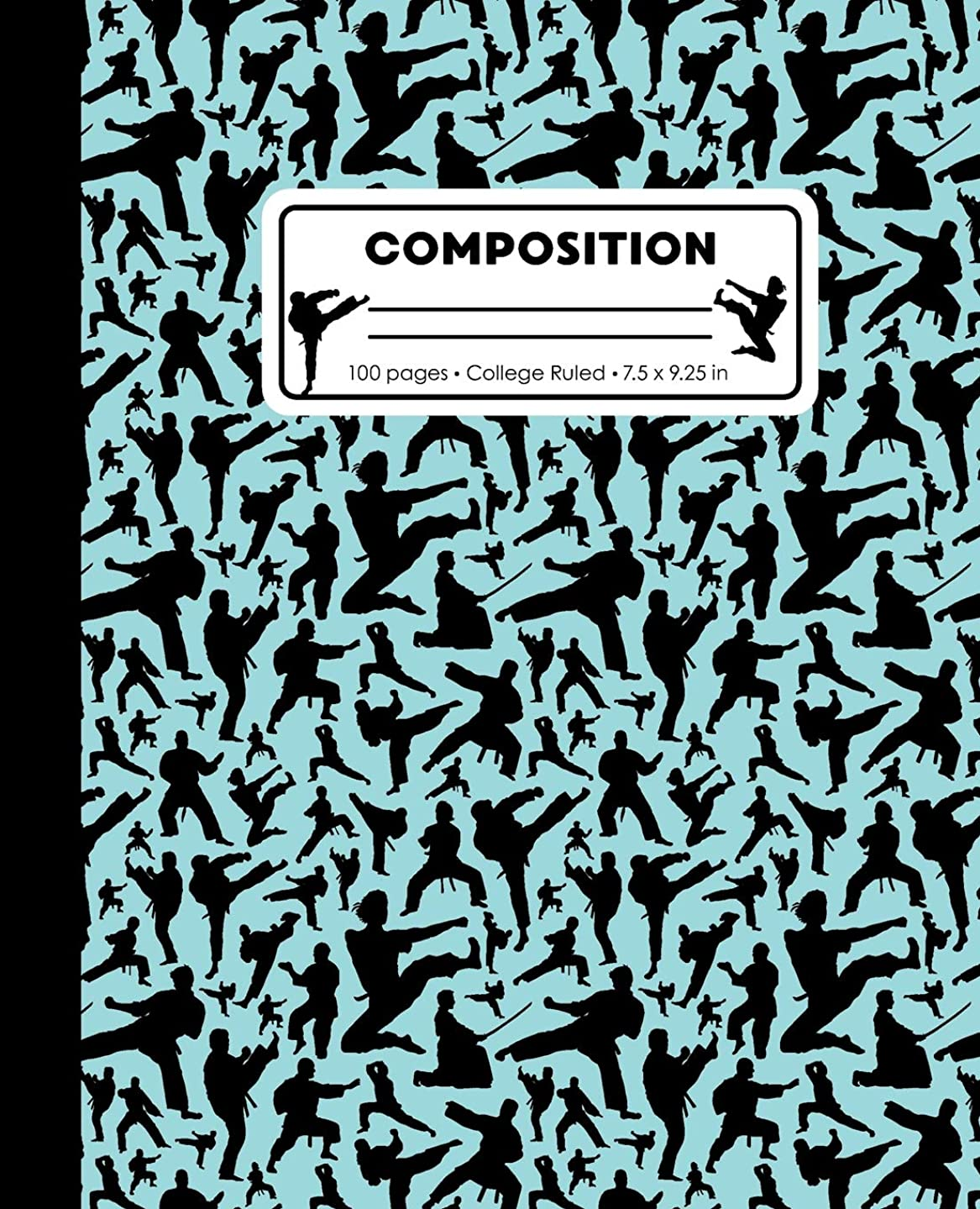 Composition: College Ruled Writing Notebook, Teal Blue Karate Martial Arts Pattern Marbled Blank Lined Book