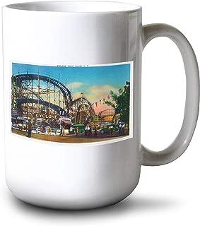Lantern Press Coney Island, New York - View of The Cyclone Rollercoaster # 1 - Vintage Halftone (15oz White Ceramic Mug)