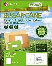 MACO Sugarcane Laser/Ink Jet/Copier White Full Sheet Labels, 8-1/2 x 11 Inches, 1 Per Sheet, 100 Per Box (SL-0100)