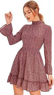 Women's Bell Long Sleeve Ruffle Layer Hem Floral Flare Short A Line Dress