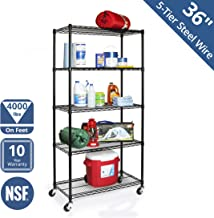 Seville Classics WEB606 UltraDurable Commercial-Grade 5-Tier NSF-Certified Steel Wire Shelving with Wheels, 36