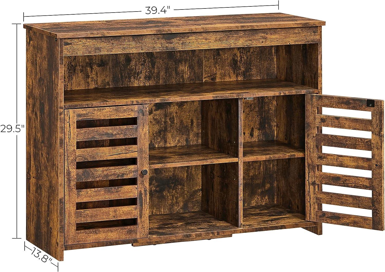 VASAGLE Buffet Cabinet, Sideboard, Floor Standing Kitchen Cupboard, with  Open Shelves, Louvered Doors, for Dining Room, Living Room, Bedroom, Rustic  ...