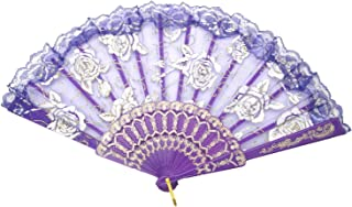 TRENDBOX Flower Rose Lace Handheld Chinese Folding Fan for Dancing Ball Parties Ladies..
