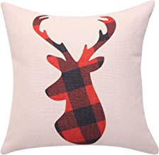 BreezyLife Buffalo Plaid Throw Pillow Covers Deer Decorative Pillow Cases Square Linen Cushion Covers for Christmas New Year Home Decor Housewarming Gift 18x18 Inches