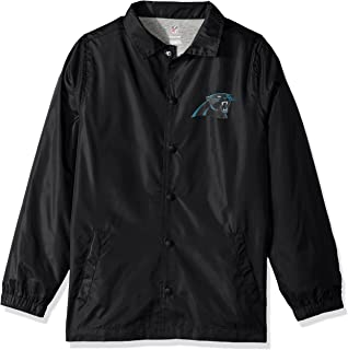 NFL Youth Boys Bravo Coaches Jacket-Black-L(14-16), Carolina Panthers