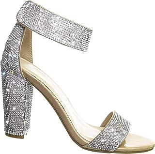 Rhinestone Chunky Heel Sandal - Women Ankle Strap Crystal Open Toe