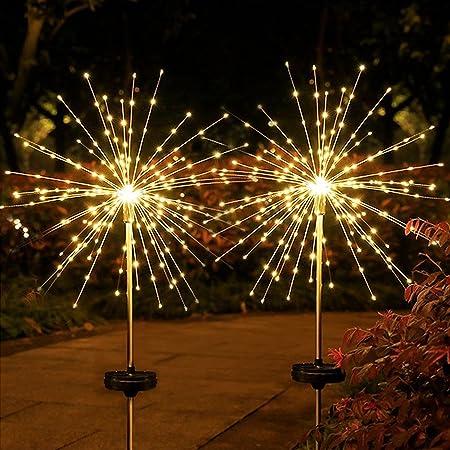105 LEDs Lumières de Starburst, Emeritpro Éclairage pour Chemins Feu d'artifice, Blanc Chaud, IP65 étanche Lampe Solaire Jardin pour Passerelle, Pelouse, 2 Pièces