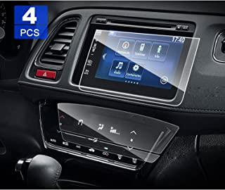 4 PCS LFOTPP 2016 2017 2018 HR-V EX EXL Anti-Glare PET Screen Protector, 7 Inch 2 PCS Car Navigation + 2 PCS Air Conditioning Screen Protector for Center Touch Climate Display