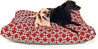 سرير كلاب بطبعة حلقات رمادية مترابطة من ماجستيك بيت، تصميم مستطيل الشكل، يصلح للاستخدام المنزلي والخارجي ومزود بغطاء قابل ...