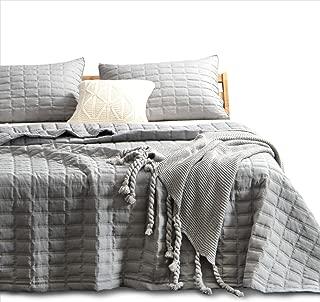 KASENTEX Quilt-Bedding-Coverlet-Blanket-Set, Machine Washable, Ultra Soft, Lightweight, Stone-Washed, Detailed Stitching - Hypoallergenic - Solid Color, King + 2 Shams, Dark Grey