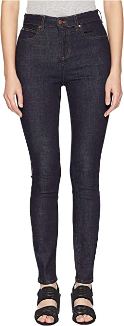 Organic Cotton Stretch Denim High-Waisted Skinny Jeans in Dark Denim