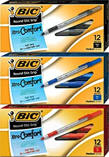 Bic Round Stic Grip Xtra Comfort Ball Pen, Medium Point (0.8 mm), 12 Each Per Box, Black, Blue & Red, (Pack of 3)