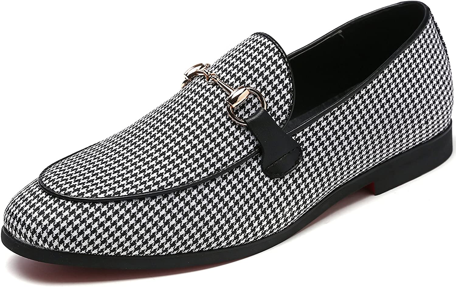 M-anxiu Men's Modern Plaid Driving shoes Tuxedo Slip On Loafers British Round Toe Moccasin