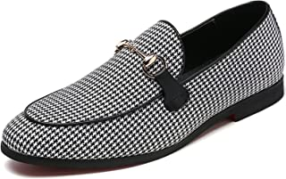Men's Modern Plaid Driving Shoes Tuxedo Slip On Loafers British Round Toe Moccasin