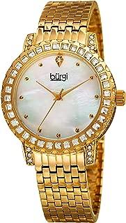 BUR176 Designer Crystal Women's Watch - Stainless Steel Bracelet Band, Czech Crystal Studded Bezel and Case, Mother of Pearl Dial, Quartz Movement