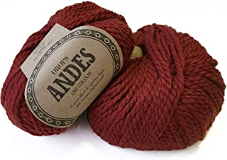 Bulky Yarn of Alpaca and Wool Mix Drops Andes, 65% Wool and 35% Alpaca, 3.5 oz, 98 Yards (3946 Red)