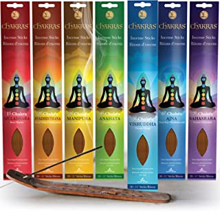 Chakras Incense Sticks, Perfect For Meditation, Reiki, Yoga, Relaxation, & Healing. Natural Hand Dipped Incense Variety Se...