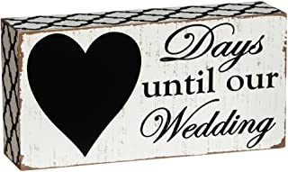"""Cypress Home Beautiful,""""Days Until Our Wedding"""" Rustic Countdown Wooden Chalkboard Sign - 8""""W x 2""""D x 4""""H"""