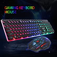 EEEKit 2in1 Rainbow LED Gaming Keyboard and Mouse Combo Set, Multi-Colored Backlight for PS4 / Xbox One/Windows PC Gamer Desktop, Computer