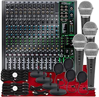 Mackie ProFX16v3 16-Channel Sound Reinforcement Mixer with Built-In FX + R21S Dynamic Microphone (x4), Xpix Pop Screen Fil...
