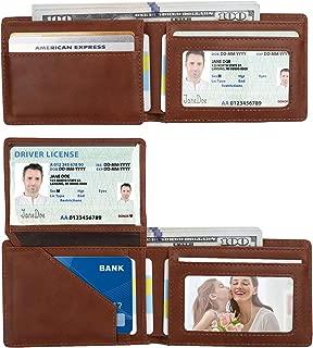 Vemingo Mens Wallet with ID Window | RFID Blocking Credit Card Holder Slim Front Pocket Leather Wallet for Men, Brown