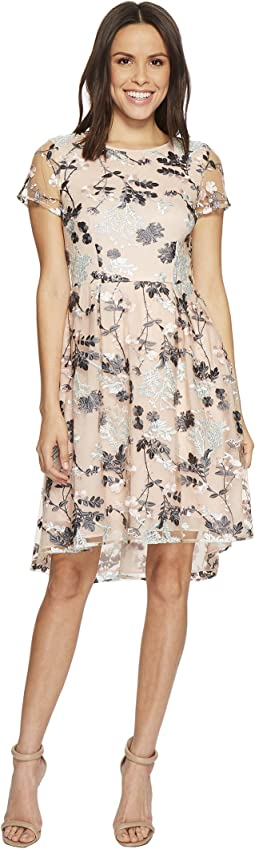 Adrianna Papell - Abigail Embroidered Mesh High-Low T-Shirt