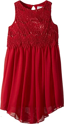 Us Angels - Sleeveless Lace Popover Dress w/ V-Hemline (Big Kids)