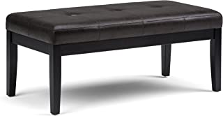 Simpli Home AXCOT-268-DBL Lacey 43 inch Wide Contemporary Rectangle Tufted Ottoman Bench in Distressed Black Faux Air Leather