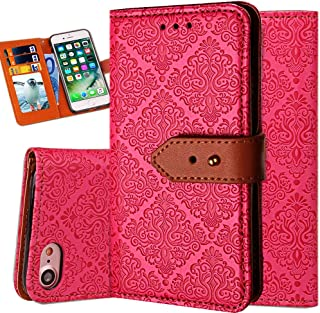 iPhone 6S Plus Leather Wallet Case,Auker Durable Folio Flip Vintage Fold Stand Case Full Body Shock Scratch Drop Protection Pocket Purse Cover with Card Holders&Wrist Strap for Women/Men-Rose