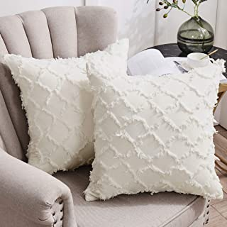 Longhui bedding Ivory White Throw Pillow Covers for Sofa, Couch, Bedroom, Family Room – Set of 2 Decorative Pillows 20 x 2...
