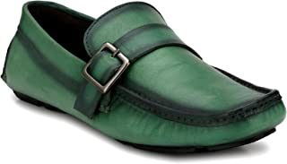 EL PASO Men's Genuine Leather Buckle Green Genuine Leather Casual Driving Loafers