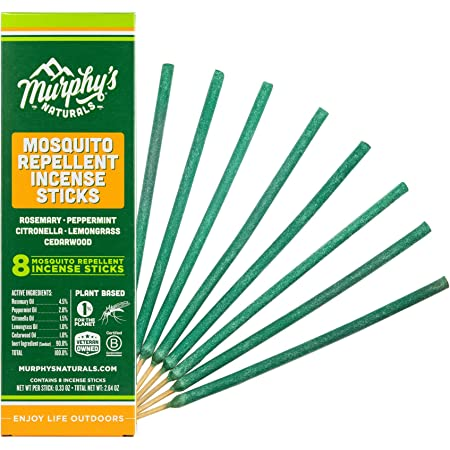Murphy's Naturals Mosquito Repellent Incense Sticks | DEET Free with Plant Based Essential Oils | 2.5 Hour Protection | 8 Sticks per Carton