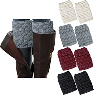 4 Pairs Winter Women Boot Socks Boot Cuffs Cable Knit Short Leg Warmers for Boots Women